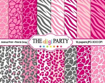 Animal Print digital paper pink and Grey zebra scrapbook instant download giraffe pattern leopard background commercial use