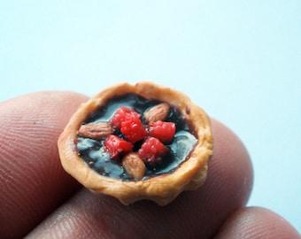 rasberry & almond topped chocolate tart - 12th scale miniature