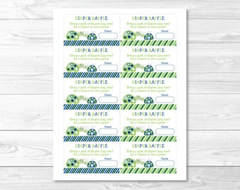 Cute Turtle Diaper Raffle Tickets / Turtle Baby Shower / Baby Shower Raffle Tickets / Green & Navy / Boy Baby Shower / INSTANT DOWNLOAD