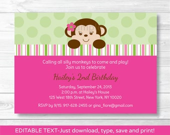 Cute Pink Monkey Birthday Invitation / Monkey Birthday Invite / Mod Monkey / Pink & Green / 1st Birthday / INSTANT DOWNLOAD Editable PDF
