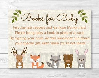 Woodland Forest Animal Baby Shower Book Request Cards INSTANT DOWNLOAD