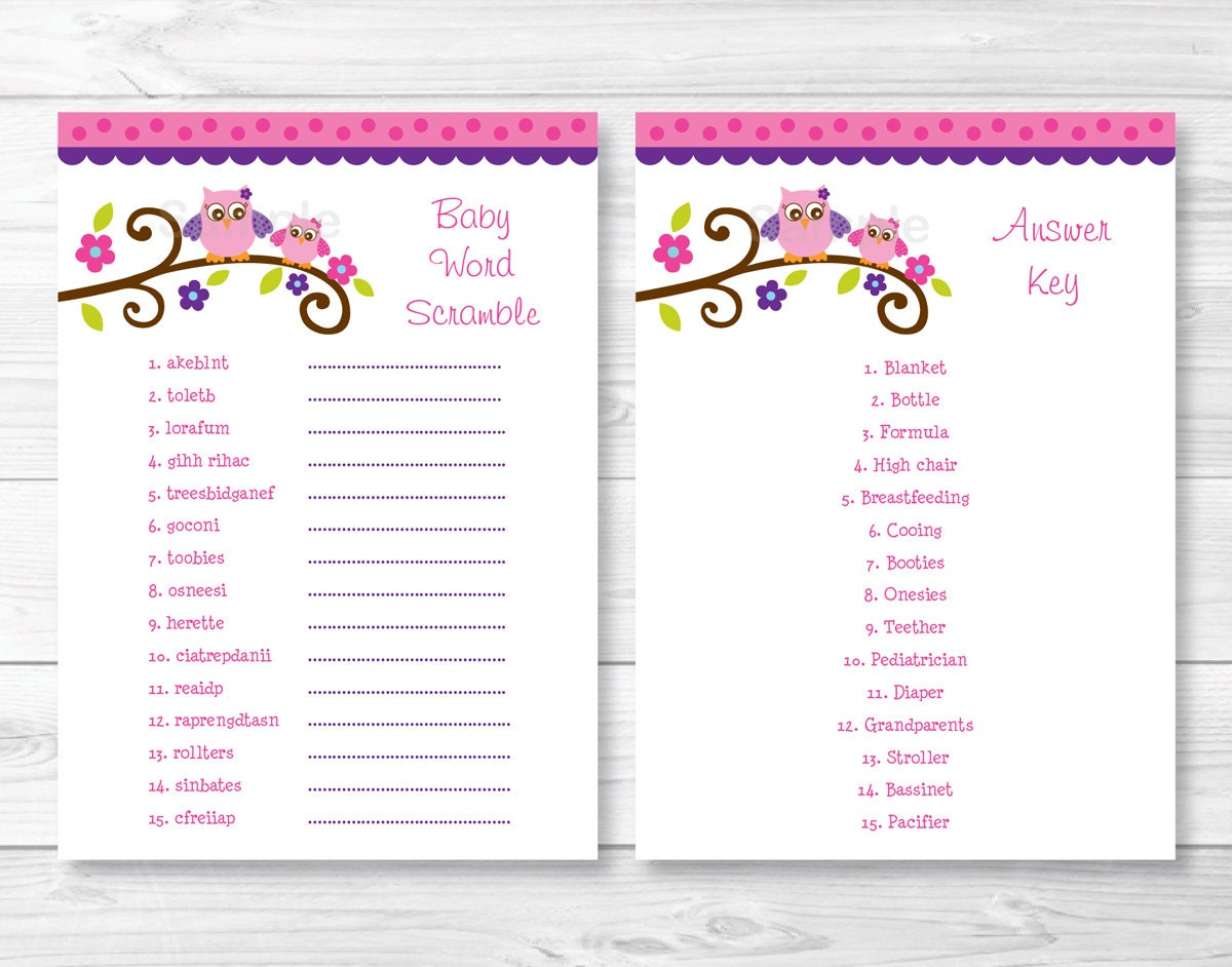 It is a picture of Intrepid Free Printable Baby Shower Games Word Scramble With Answer Key