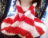 Men or Woman Unisex Infinity Christmas Candy Cane Scarf Neck Warmer Cowl - Red and White ALL Cotton