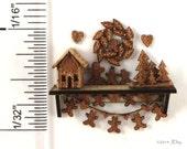 KIT Laser Cut, Quarter Scale Gingerbread House & Christmas Accessories, Shelf, gingerbread men