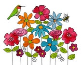 Watercolor Print, Hummingbird, Honey Bee, Kitchen Art, Garden Art, Colorful| Various Sizes