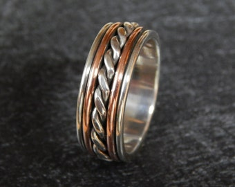 MAJESTIC Silver & Copper or 14k Gold Filled // Men's Wedding Ring // Men's Wedding Band // Women's Wedding Band // Unique Wedding Band