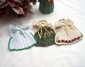 Trio of Angel Ornaments Crochet Thread Art New Handmade