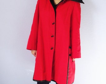 Vintage Swing Coat - Red and Black - 1960s Faux Fur Lined - Dramatic Fall Jacket