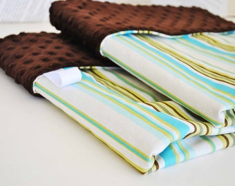 BABY BOY  BLANKET /  Green brown stripes cotton fabric / Brown minky dimples / Soft comfy blanket /   Luxury for boys