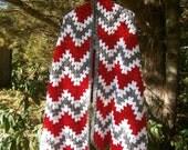 Red, White, Grey Wrap, Comfort Shawl, Prayer shawl, Chevron Stitch Shawl, Morning Shawl, South West Shawl