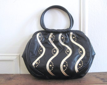 vintage 1980s black leather and gold studded handbag - metallic waves & studs - 80s, rocker chic, purse, pocketbook, retro, hipster