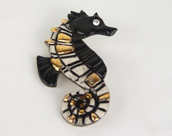 vintage black and gold and white and rhinestone SEAHORSE brooch