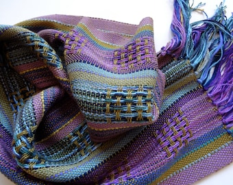 handwoven olive blues and purples symphony scarf