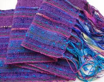 handwoven wide scarf violet confetti lightweight