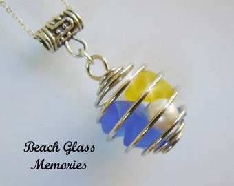 Sea Glass Bauble Necklace  Blue and Yellow Beach Glass Necklace Seaglass Wire Wrapped
