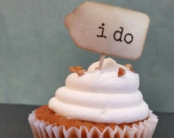 100 i do tag SMALL favor tag 7/8 x 1 5/8 BROWN INK cupcake pick tag not attached to toothpick