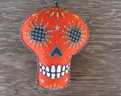 Orange Calavera-felt ornament