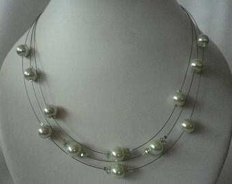 SALE Light Pale Green  Floating Pearls and Crystals Necklace and Earrings