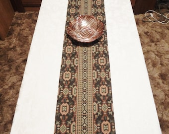 "TABLE or MANTEL RUNNER - Brown Multi Color Southwest Aztec Pattern - 72"" x 10"" - Item #329003"