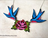 Vintage tattoo rose in red and pink with light blue and red sparrows chest piece tattoo jewelry by WickedMinky