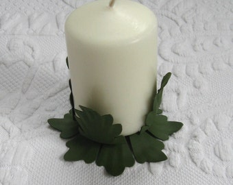 Green Tin Candle Holder / Leaf Shaped Green Candle Holder
