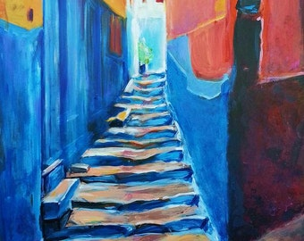 Staircase - Tangier, Morocco - Reproduction of Original Painting