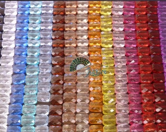 Faceted Rectangle Acrylic Beads, 18x13mm, Transparent, Assortment - 20x