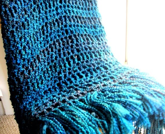 Throw blanket deep blue with emerald green by - Emerald green throw blanket ...
