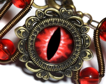 Neo Victorian Jewelry - Bracelet with red dragon eye