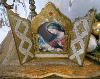 Antique Vintage Florentine Gesso Italy Italian Large Wooden Madonna Triptych Wall Hanging