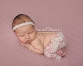 Amaris - Ivory Lace Pearls Halo Headband - CHOOSE CREAM or WHITE - Baby Infant Newborn Girls Adults - Photo Prop - Wedding Baptism