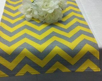 YELLOW GREY CHEVRON Runner- Zigzag grey and yellow stripe natural  zig zag Table Runner Chevron