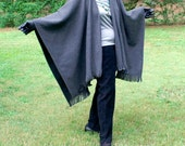 Charcoal Gray Anti Pill Fleece Wrap, Poncho, Cape or Shawl with Fringe--One Size Fits Most