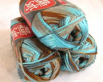 Red Heart Soft WATERSCAPE yarn,  medium worsted weight yarn, turquoise grey brown yarn earth sky southwestern colors