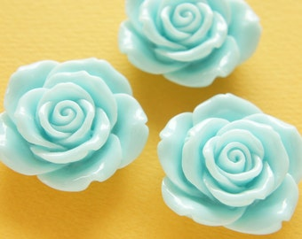 4 pcs Huge Full Bloom Rose Cabochon (41mm43mm) Sky Blue FL312