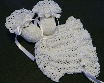 Crochet White Lacy Ruffle Brimmed Bonnet and Booties, Christening, Newborn Baby Girl 0 - 3 Months