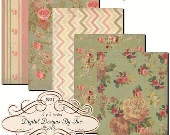 Instant Download - Cottage Dream -  Printable Digital Collage Sheet - Digital Download - Cards - Crafts - Romantic