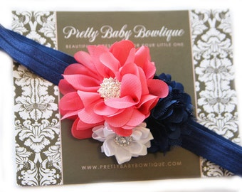 Coral and Navy headband For Baby- Baby Girl Headband -Coral and Navy Blue Flower Headband -Baby Headband - Photo Prop