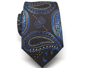 Mens Tie. Brown Blue and Yellow Paisley Mens Necktie