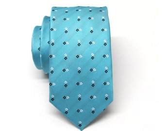 Mens Ties Blue Black White Squares Skinny Necktie