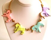 Unicorn Necklace Pastel Rainbow Unicorn Statement Necklace Kawaii Necklace Couture Necklace Kawaii Jewelry Rainbow Jewelry