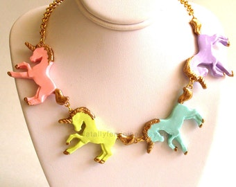Pastel Goth Unicorn Necklace Rainbow Unicorn Statement Necklace Kawaii Necklace Couture Necklace Kawaii Jewelry Rainbow Jewelry