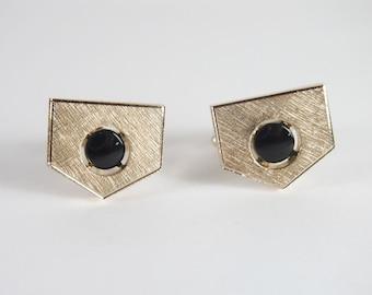 Geometric Gold Tone Black Enamel Vintage 60s Cufflinks Cuff Links