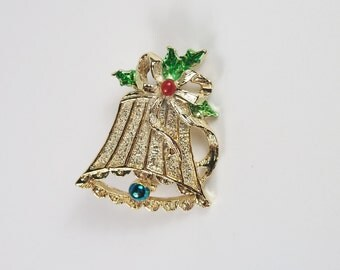Christmas Bell Gerrys Brooch Vintage 70s Jewelry