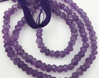 February Birthstone-Gemstone beads-Amethyst Faceted Rondelle- 3.5- 4mm - 13.5 inches full strand-Purple Gemstone-sku: 309002-AMT