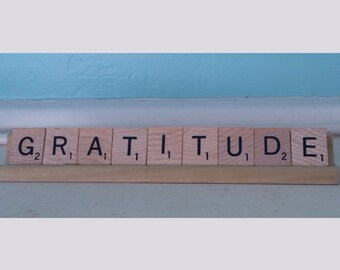 Gratitude Scrabble Tiles Upcycled Sign