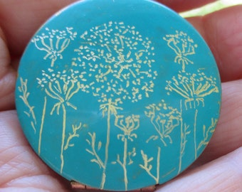 Queen Anne Lace engraved art on Verdigris locket with brass chain