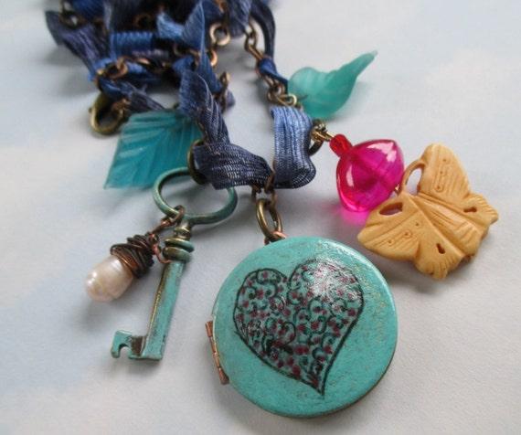 Mini Verdigris Love locket  original engraved artwork on vintage brass locket with charms necklace valentine gift