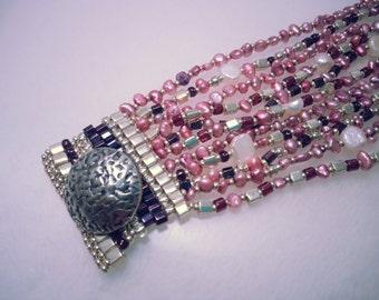 Strands of Pink Freshwater Pearls & Silver Cubes Bracelet