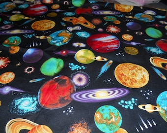 New space planets solar system comets cotton quilting for Fabric planets solar system
